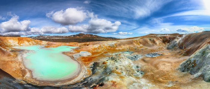 Exotic landscape of Acid hot lake with turquoise water in the geothermal valley Leirhnjukur
