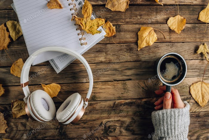 Headphones with autumn dry leaves
