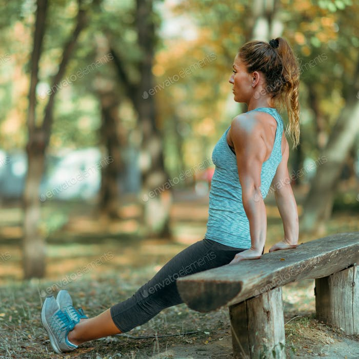 Woman Exercising Outdoor in The Fall