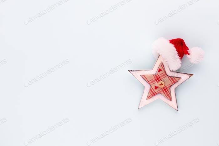 Decoración de estrella de Navidad. Estrella de Navidad sobre fondo azul.