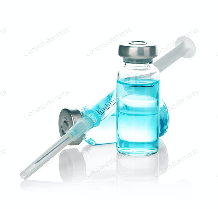 Medicine bottle for injection, medical glass vials and syringe for vaccination. Coronavirus concept.