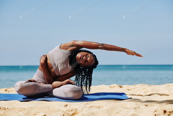Woman stretching right side