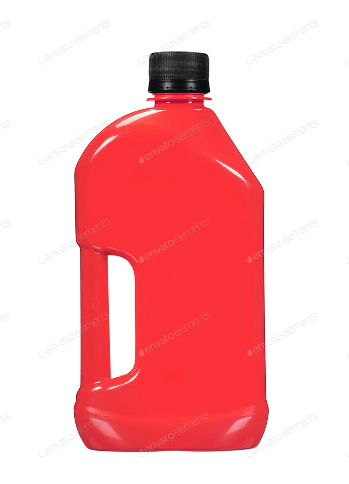 red detergent bottle for liquid laundry