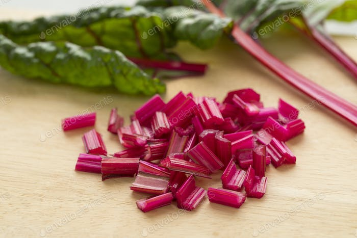 Red stemmed chard cut into pieces