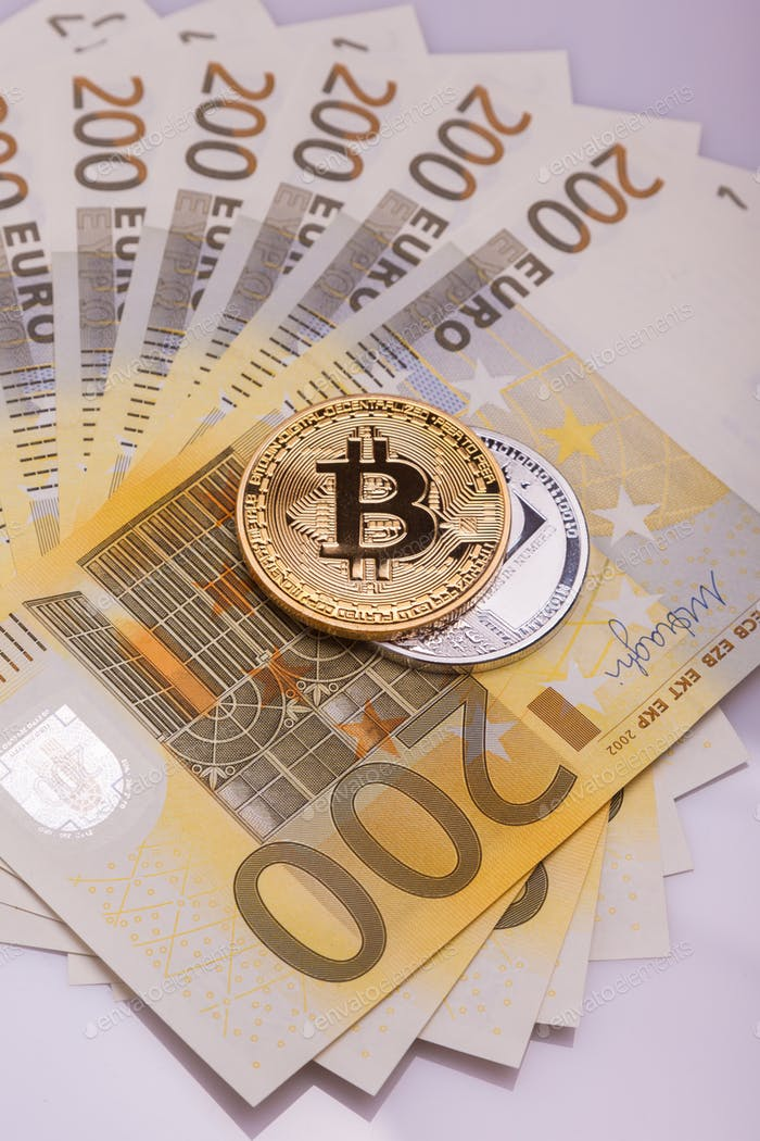 Bitcoin btc crypto currency coin over 200 euro bank notes