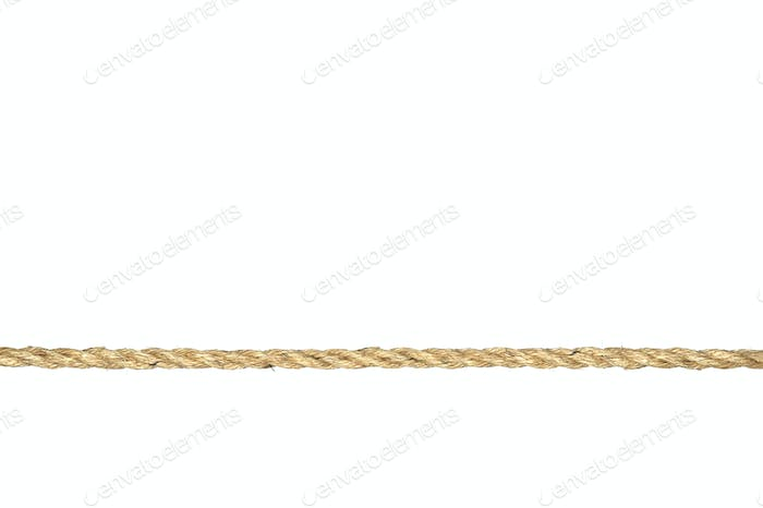 Twisted manila rope isolated on white