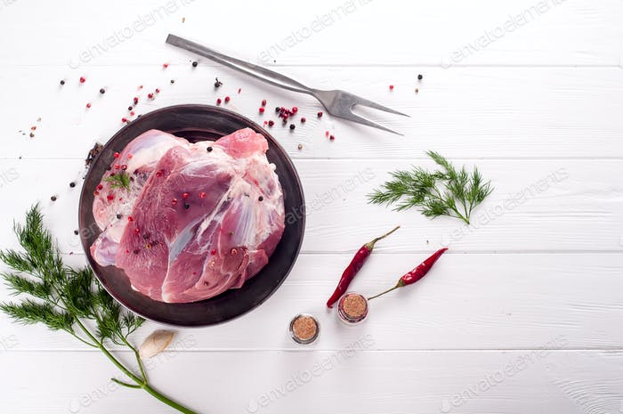piece of fresh pork on the bone