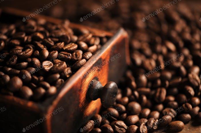 closeup of coffee beans, shallow dof