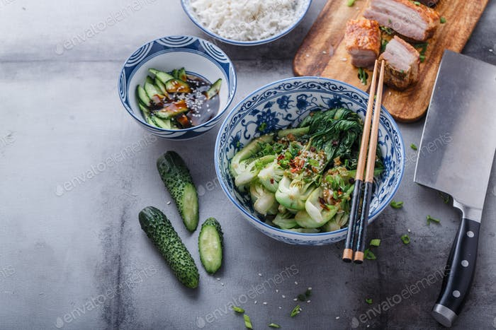 Stir-fried bok choy and pork belly, asian cuisine copy space