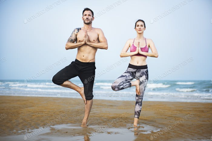 Yoga Beach Exercise Relaxation Baltic Coast Pose Concept