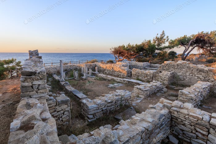 ruins of ancient village in Archaeological site of Aliki