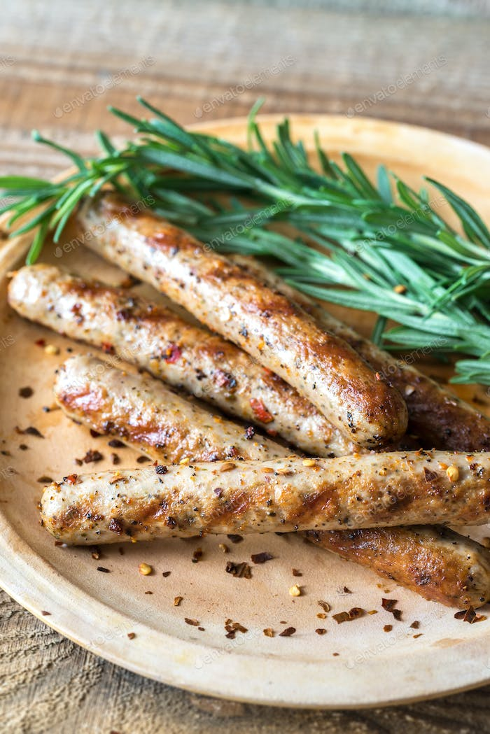 Grilled sausages with rosemary