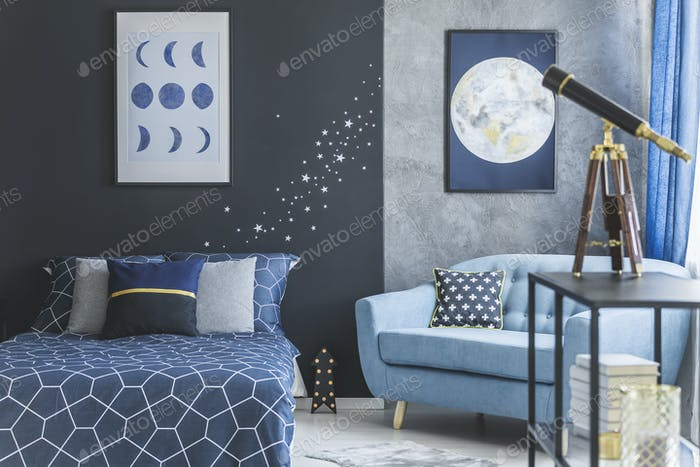 Astronomic bedroom interior with telescope