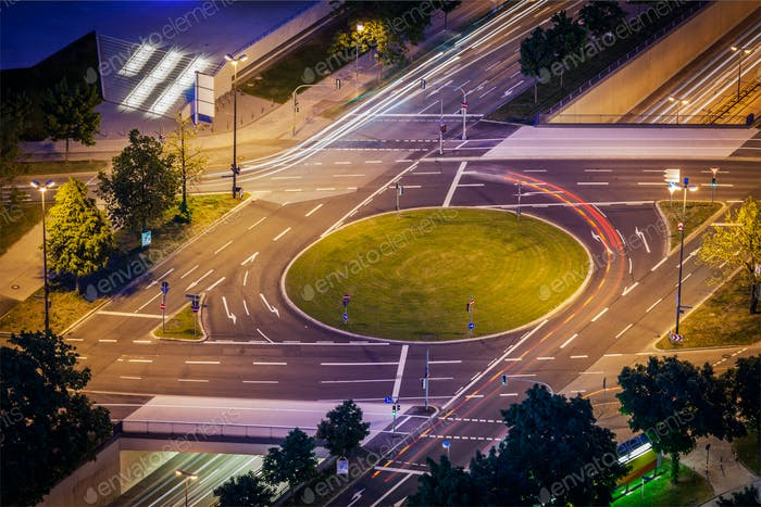 Elevated view of German road junction. Munich, Bavaria, Germany