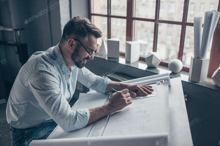 Working architect in the studio