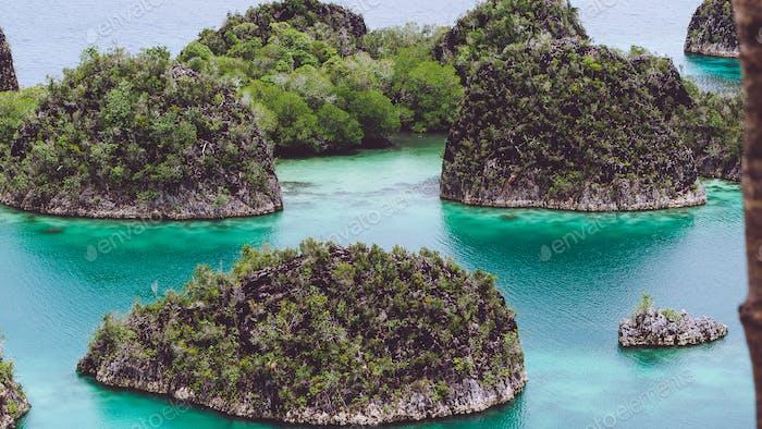 Painemo, Grupo de pequena ilha em águas rasas da lagoa azul, Raja Ampat, Papua Ocidental, Indonésia
