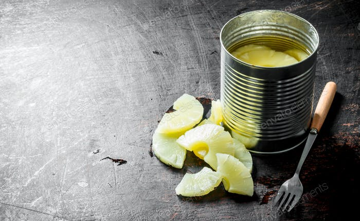 Pineapples in a tin can.