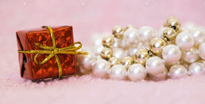 Birthday gift box and pearls for female