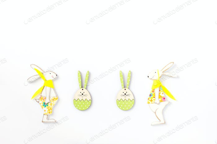 Easter background. Festive decoration isolated on white.