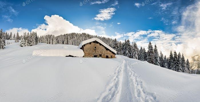 Eine Strecke im Schnee