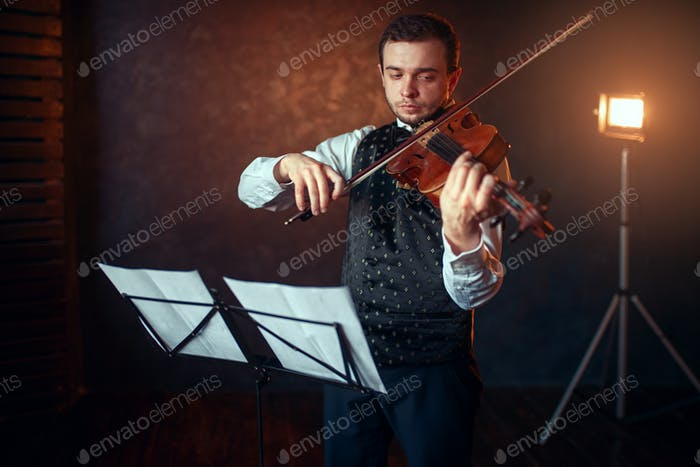 Male violinist with violin against music stand