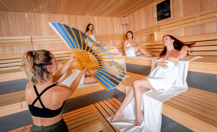 Sauna ritual performed by a master for group of people