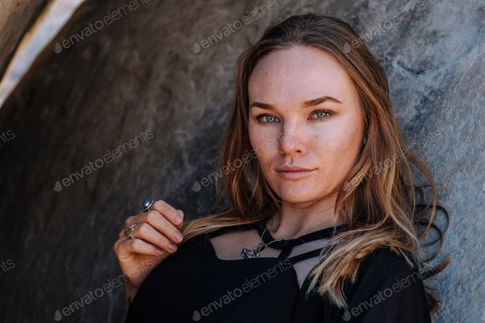 Woman Wearing Black in American Desert
