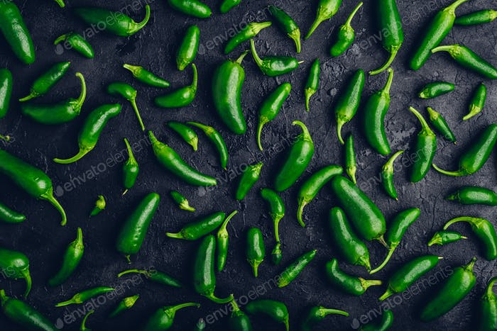 Composition of Jalapeno Peppers on Black Background