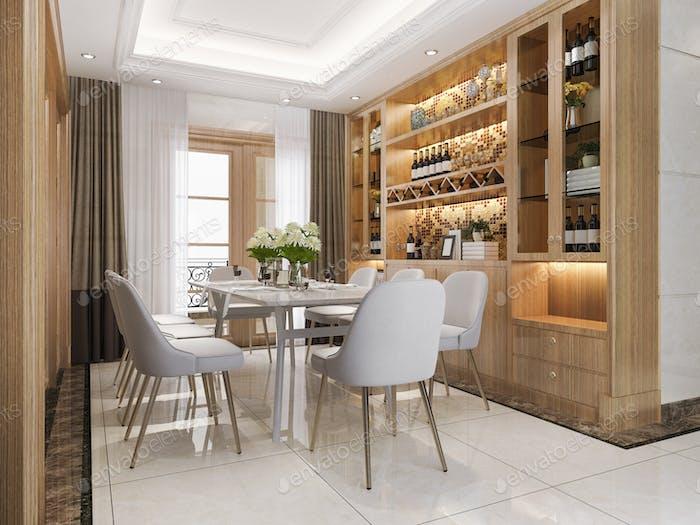 3D representación moderna comedor y sala de estar con estante de vino decoración de lujo