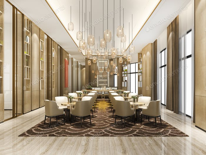 3d renering elegant lounge lobby area and library in sales center