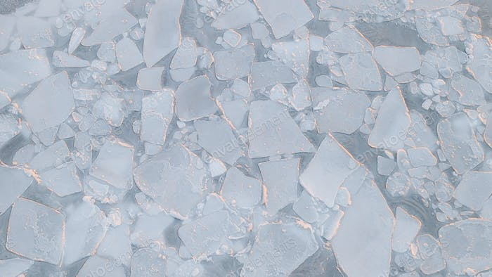 Cracked ice on the frozen sea in Greenland