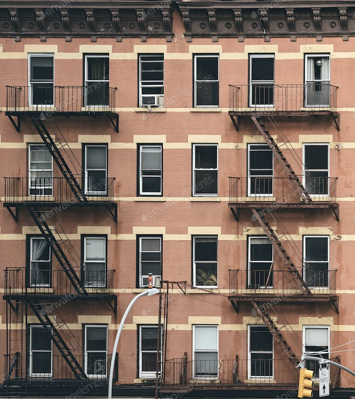 Fire escapes and windows of New York.