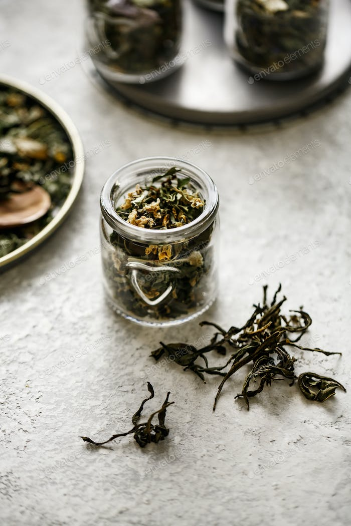 Dry tea from herbs in small jar