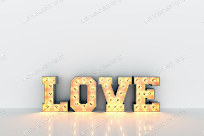 Love word with light bulbs inside on white clean wall background