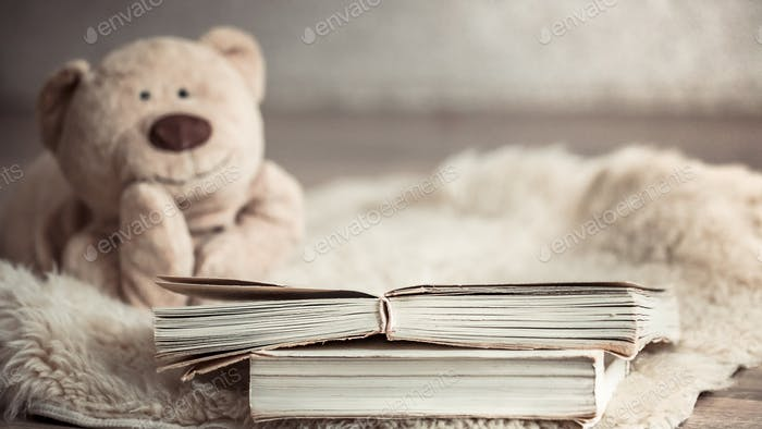 beautiful Teddy bear with a book on the floor in the cozy living room of the house
