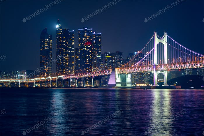 Gwangan Bridge and skyscrapers in the night. Busan, South Korea