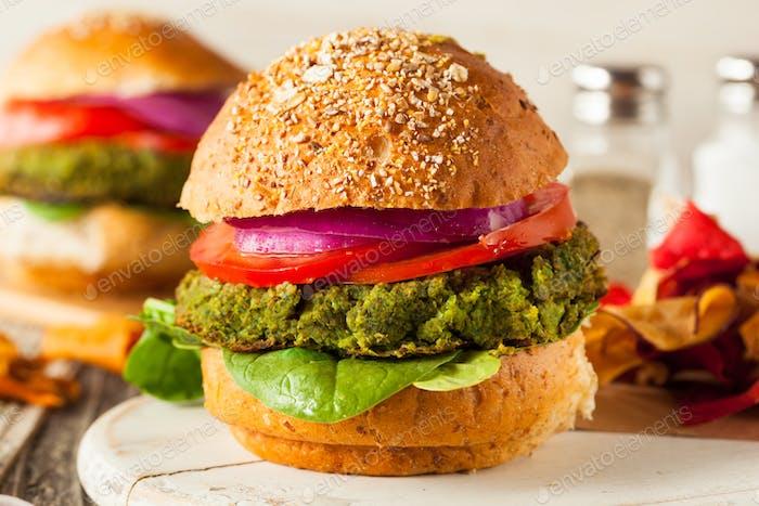 Homemade Green Vegan Burgers