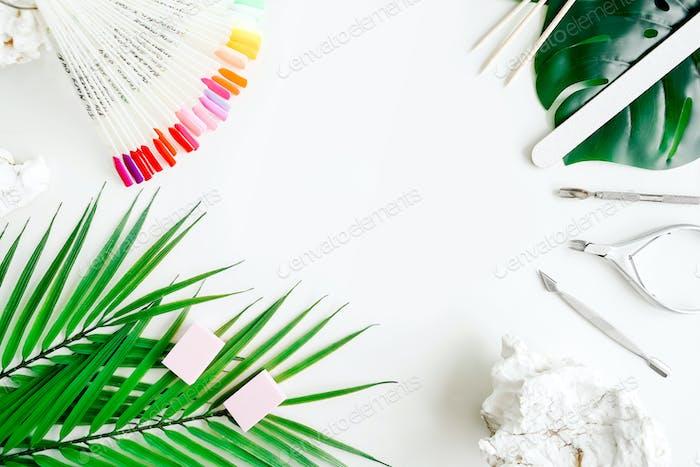 Tools of manicure set on white background