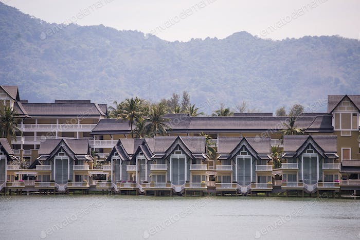 Luxury houses cottage village on the shore of the lake