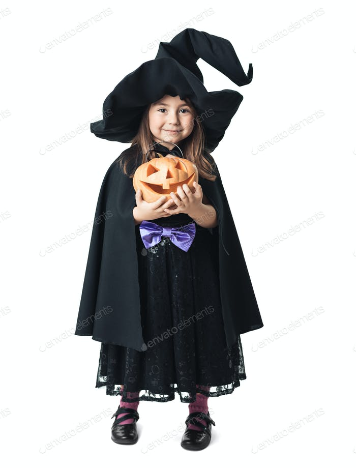 little witch with pumpkin on a white background