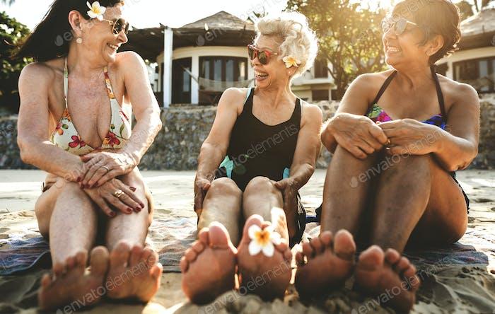 Senior women on the beach