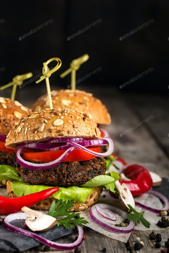 Vegan burgers background