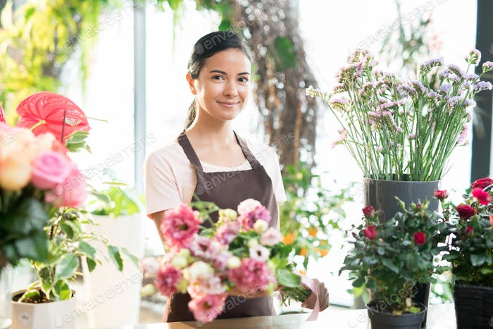 Girl working in florist shop