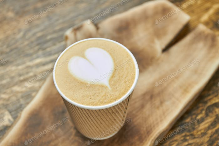 Heart latte art, paper cup