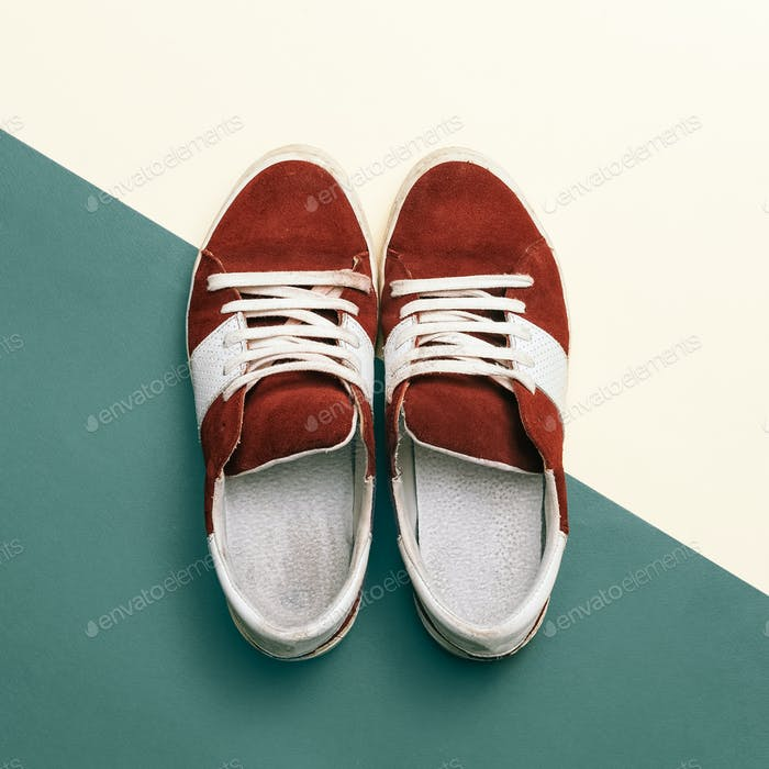 Skateboard style. Trendy sneakers. minimal design