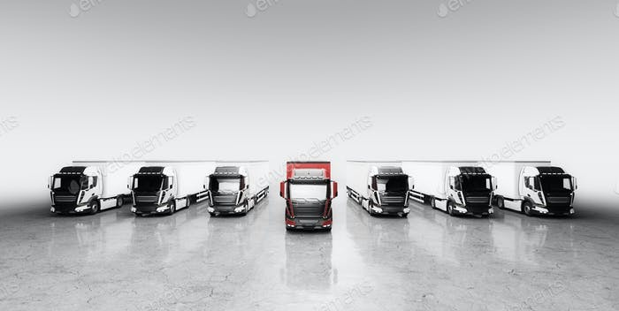 Fleet of trucks with cargo trailers. Transport, shipping industry.
