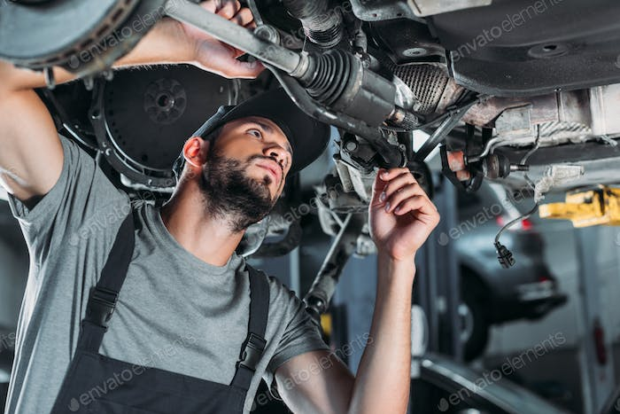 mechanic in overalls repairing car in auto repair shop
