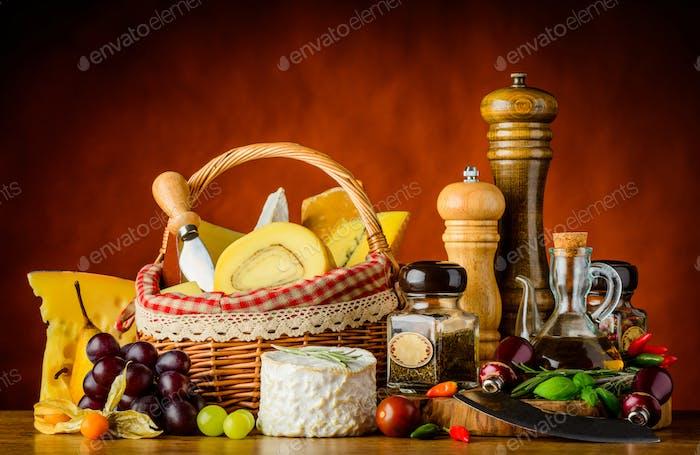 Basket Cheese and Seasoning