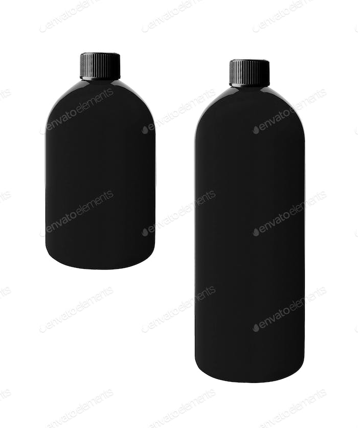 Black shampoo bottle isolated on white
