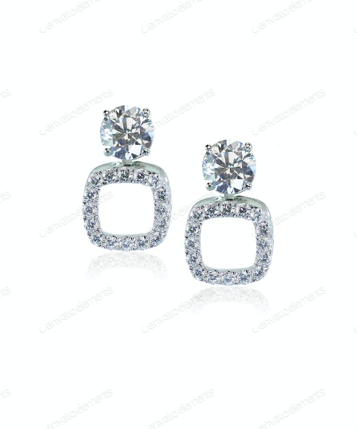 Diamond drop square earrings